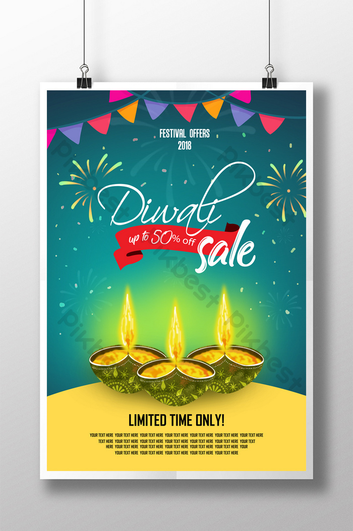 Diwali Festival Sale Poster Flayer Layout Poster Psd Free