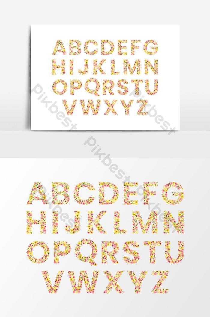 水彩花卉藝術字母表字母透明矢量圖形元素| PSD 元素素材免費下載 - Pikbest
