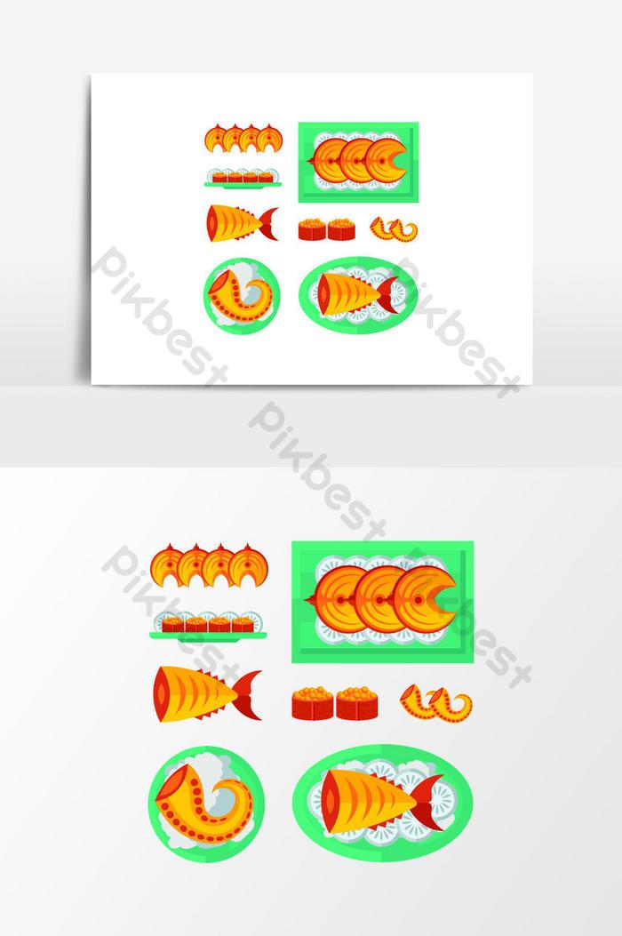 藍色橙色牛排魚和沙拉圖  EPS 元素素材免費下載 - Pikbest