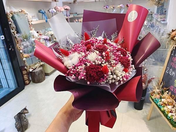 台北質感花店推薦,乾燥花紅色韓式質感乾燥花束.JPG