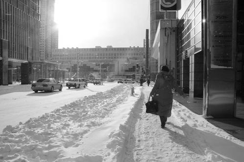 元月一日的札幌街頭…黑白無聲的雪中即景