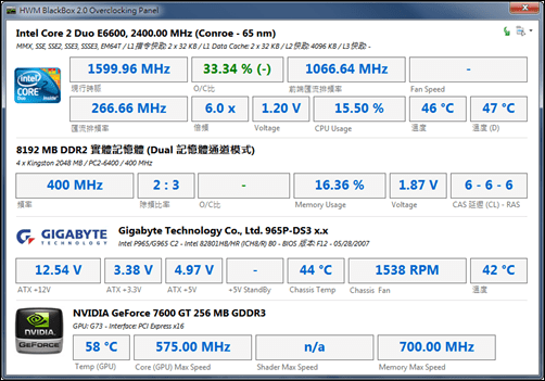 HWM Blackbox 電腦配備檢視工具 ocpanel