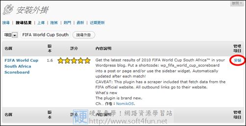 [WordPress外掛] 網站也要瘋世足,在網站放世足(FIFA)計分版 fifawordpress02
