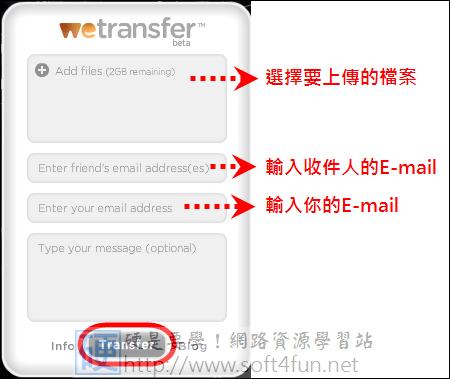 可批次傳輸大量檔案的免費空間,最高可上傳2GB wetransfer01