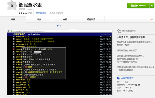 鄉民查水表:抓出PTT黨工、偽鄉民、領500元便當費的超實用工具(Chrome擴充套件) 03ec536d1970