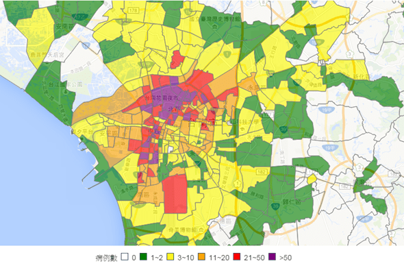 台南登革熱地圖