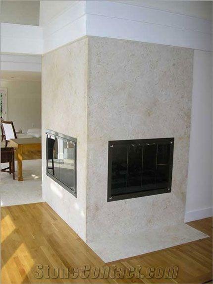jura beige limestone fireplace surround