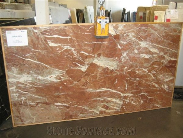 coral red marble slabs from united
