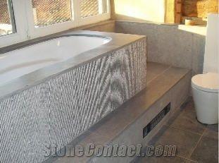 Bathroom Blue Stone Bath Tub Surround Cladding From