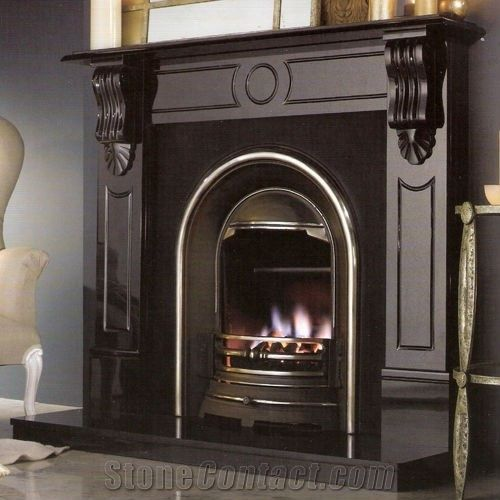 Simple Black Granite Fireplace From China