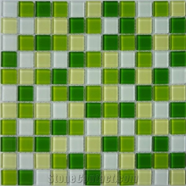green yellow glass tile mosaic pattern