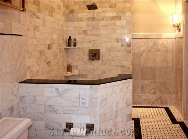 bianco carrara marble tile shower