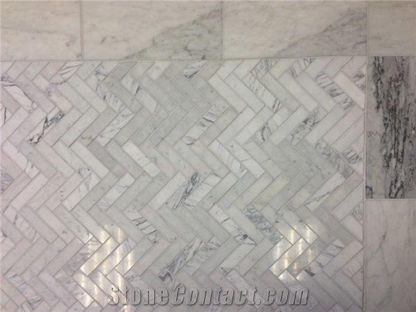 bianco venatino marble 6x12 herringbone