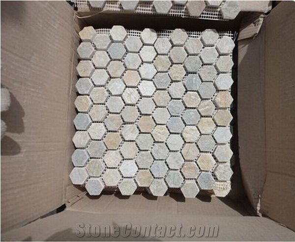 Mixed Color Slate Mosaic Floor Wall Tile From China