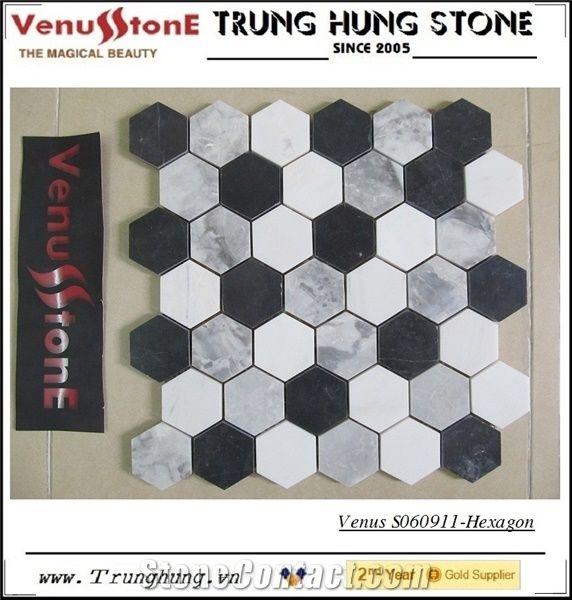 black grey white hexagon marble mosaic