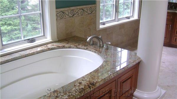 Golden Wave Granite Bathtub Deck Yellow Granite Bath Top