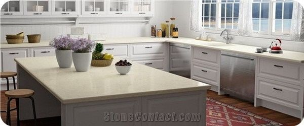 Quartz Stone Veined Collection For Kitchen Countertop Thickness