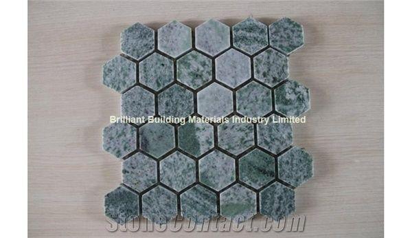 dark green marble mosaic tiles hexagon