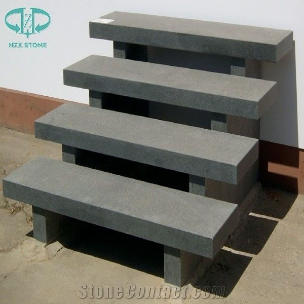 Chinese G654 Pandang Dark Grey Granite Steps Exterior Outdoor   Outdoor Composite Stair Treads   Stone   Framed   Outside   Ready Made   Blocking