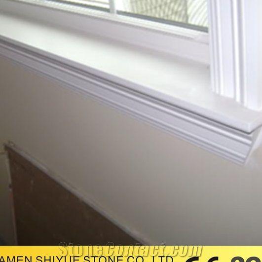 Pure White Cheap Quartz For Window Sill Design With Cheap