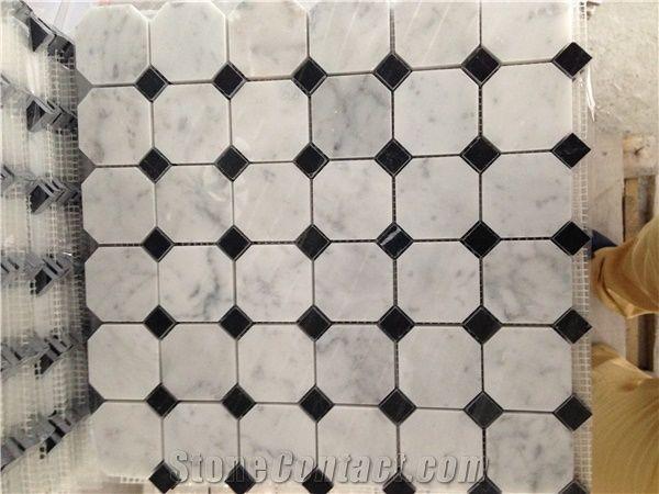 china mosaic tile mixed with carrara