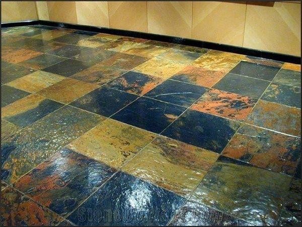 african multicolor slate floor tiles