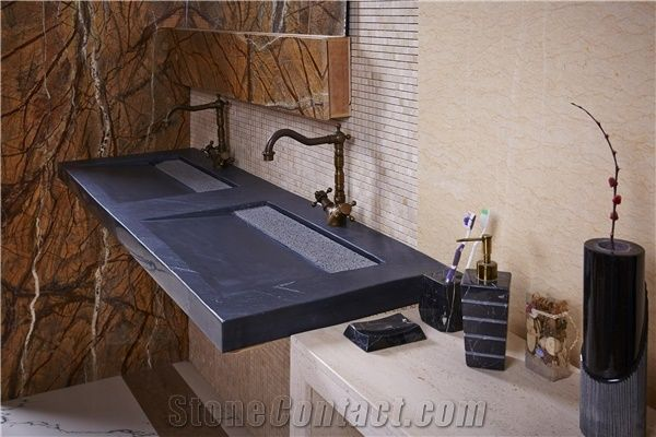 black granite bath top and wash basin