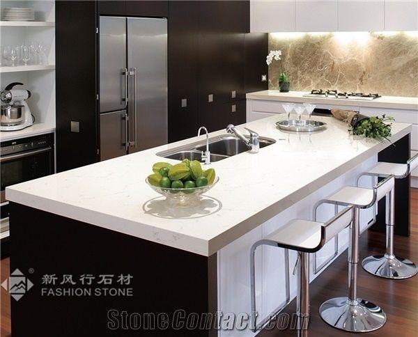 Quartz Surface Marble Color Manmade Stone Kitchen Countertops