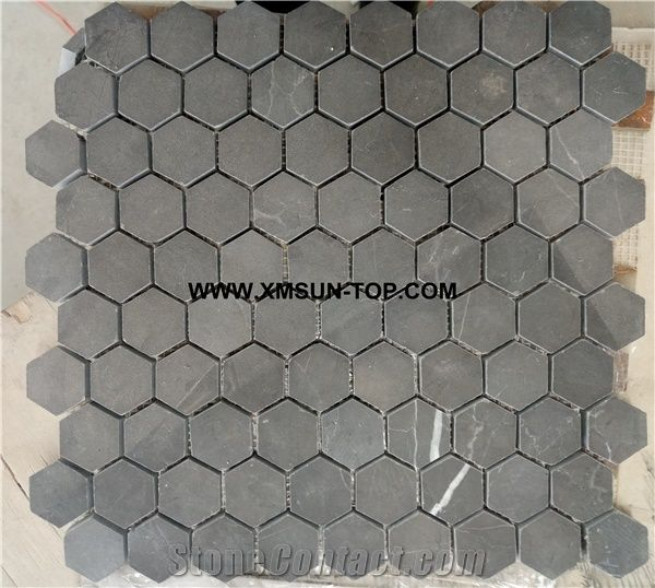 dark grey hexagon mosaic polished