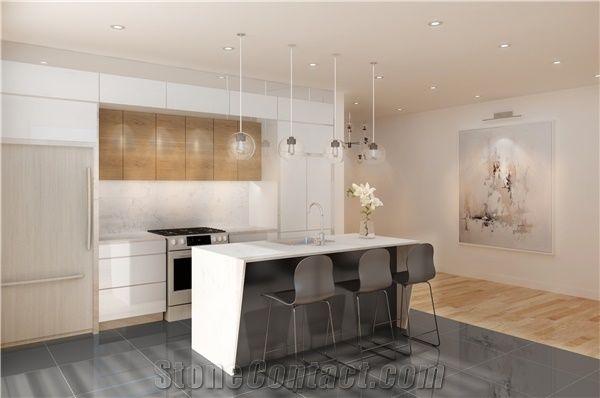 D5111 Statuario Nuvo Quartz Stone Kitchen Countertops With