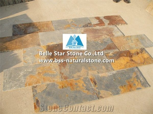 chinese multicolor riven slate tiles