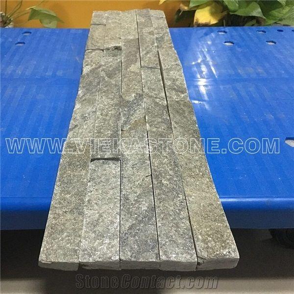 china green quartzite fireplace stacked