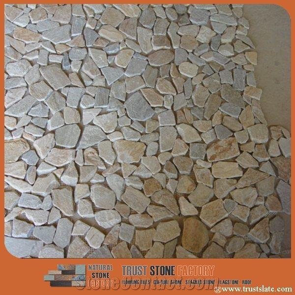 light grey chipped mosaic river rocks