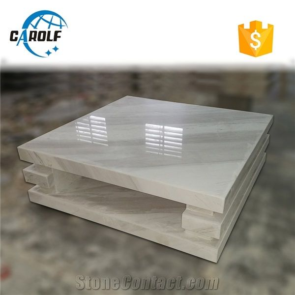 square jazz white marble coffee table