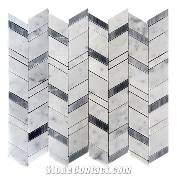 carrara white and grey marble chevron