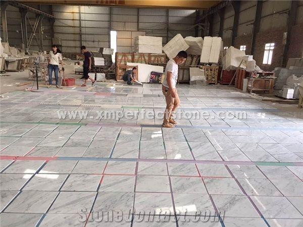 white marble tile floor