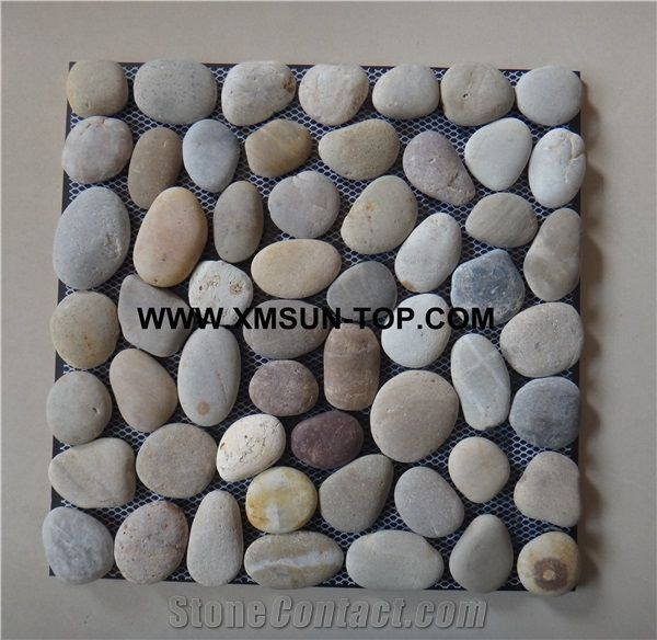 mixed color honed flat pebble mosaic in