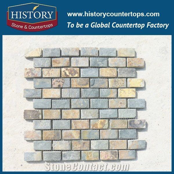 honed natural rusty slate subway mosaic