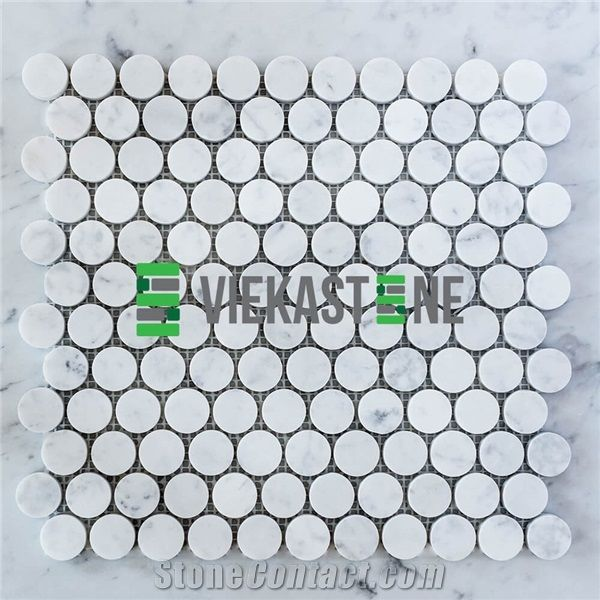 bianco carrara white marble penny round
