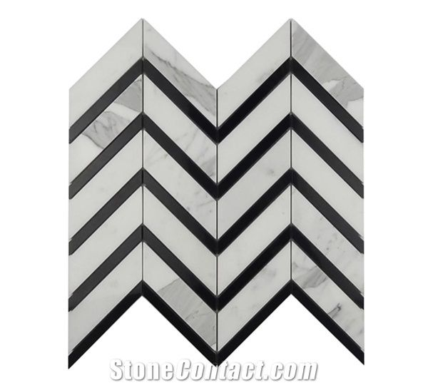 white and black marble mosaic tiles