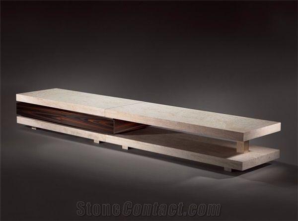 beige limestone tv table stand interior