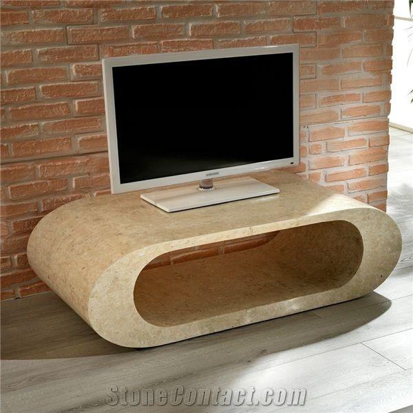 classic beige limestone round tv table
