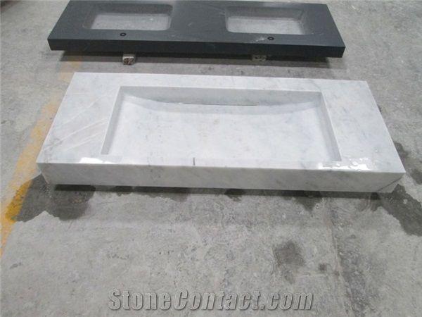 carrara white marble bathroom console