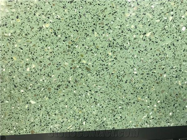 green terrazzo ceramic floor tile