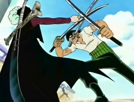 鷹眼用小刀擋住索隆的所有攻擊
