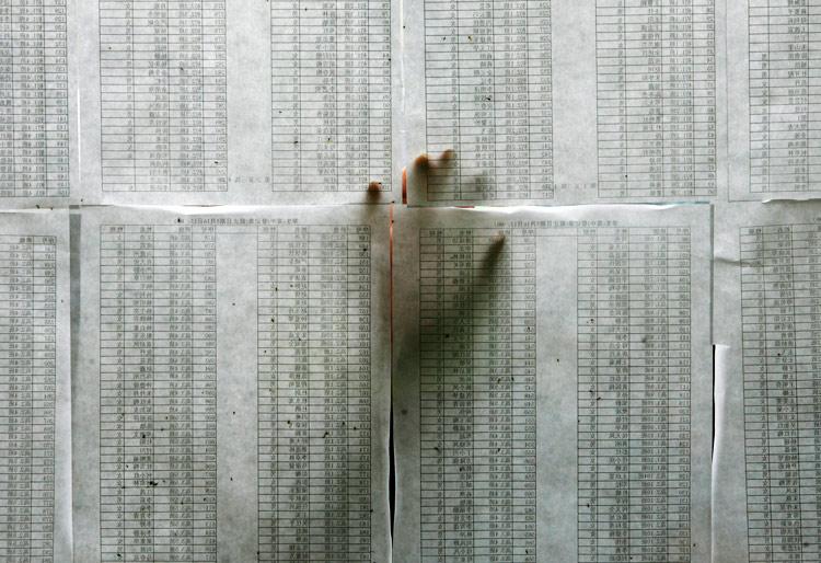 名单 一名家长在幸存学生名单上寻找自己孩子的姓名,绵阳体育馆A relative scans a list of high school students who survived the powerful earthquake in China, at a stadium in the city of Mianyang. Saturday, May 17, 2008 Names 摄影师:Bobby Yip / Reuters
