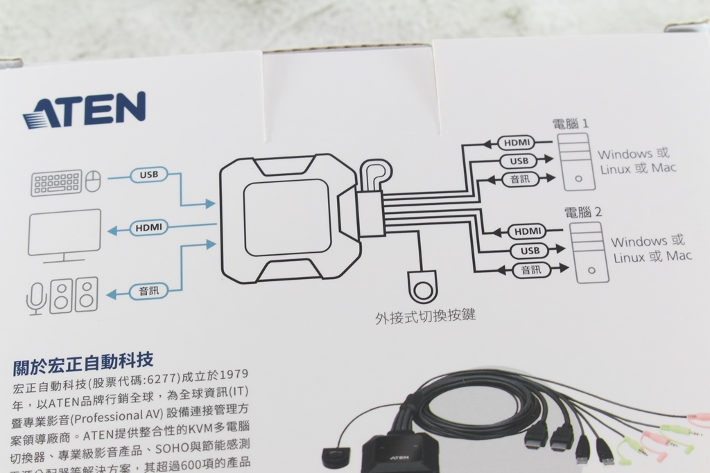 宏正ATEN CS22H 2埠USB 4K HDMI帶線式KVM多電腦切換器-兩台主機共用鍵鼠、螢幕與音訊,USB裝置也能切換!
