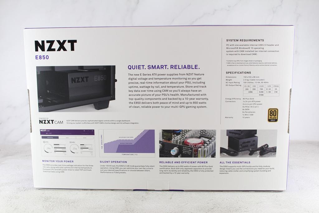 恩傑 NZXT E850 850W 金牌全模組化數位電源供應器-CAM軟體即...8407