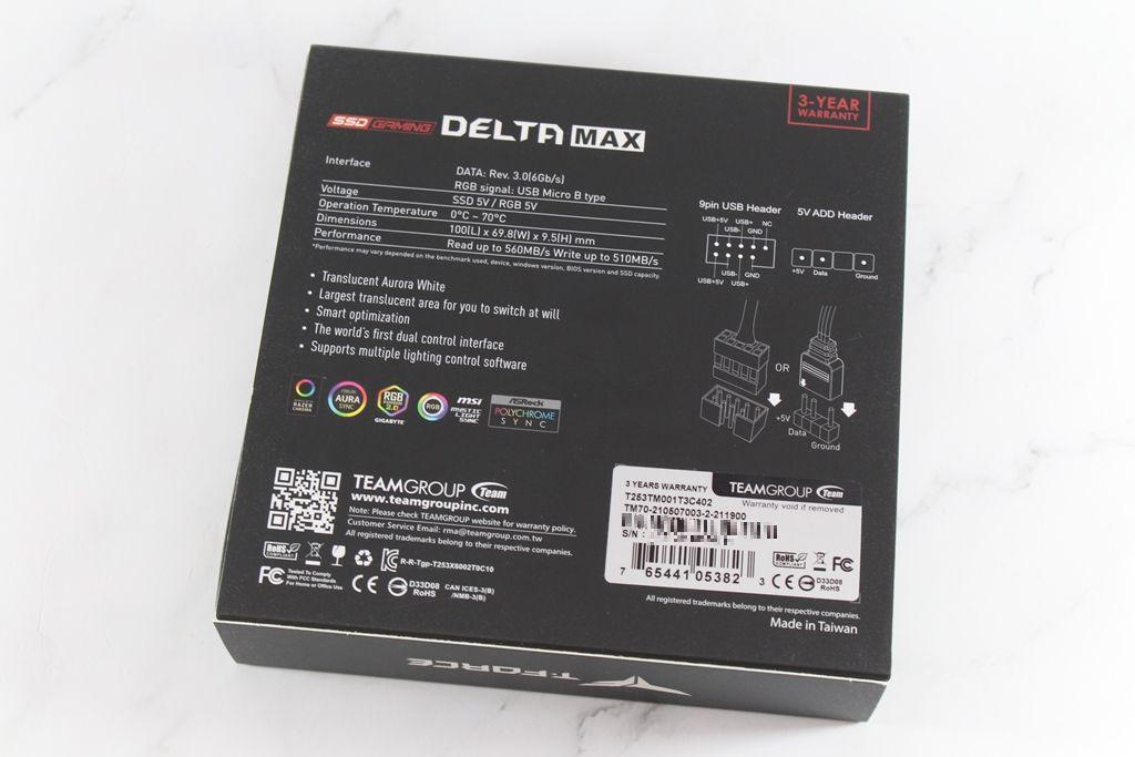 十銓T-FORCE DELTA MAX WHITE RGB SSD固態硬碟-ARGB發光還不夠,白...5941