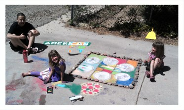 The great chalk art in the driveway.